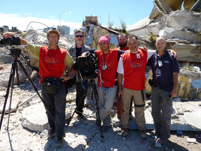 The Parallax Film Productions 3D crew pictured among the ruins of the imploded Fonte Nova Stadium in Salvador, Brazil after successfully capturing the story for National Geographic and History Television..From left: Karel Bauer, Jon Bowe, Sean White, Rory Lambert, Carlos Haney, Ian Herring